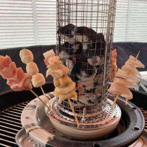 土岐市下石町の窯元・荒神窯の加藤土岐光氏が開発した、知られざるアイデア炭火焼コンロ「串匠」を使ってみた!まるで囲炉裏で焼いてるようで面白い。