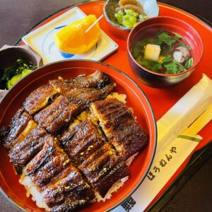 """土岐市下石町にある鰻の「ほうねんや」さんでうな丼(松)を食べてきました。店内の生けすから捕まえたばかりの""""4Pサイズ""""の鰻は大きさも旨味も格別!"""